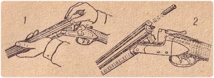 Охотничье ружье: 1 - с экстрактором, 2 - с эжектором
