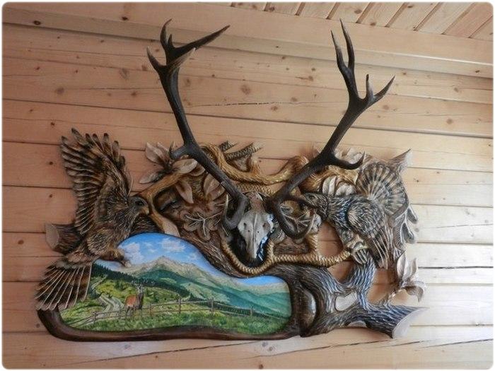 Трофейные рога оленя